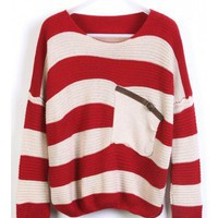 Red Stripes Loose Sweater with Pocket  style sweater390