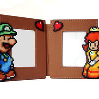 Mario Paper Photo Frame. Luigi & Daisy Double Mini Book Style Brown Synthetic leather Picture Frame.