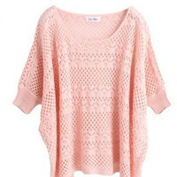 Acrylic Pink Ultra-Thin Hollow Bat Short-Sleeved Round Neck Sweater  style 1631009