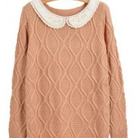 Vintage Lace Collar Pink Sweater  style sweater386