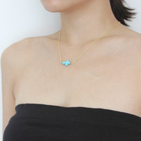 Delicate simple everyday turquoise bule horizontal sideways cross necklace chain available in gold or silver