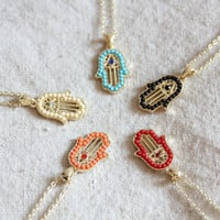 Hamsa necklace with choice of colors