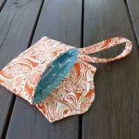 The Minimalist:  Wristlet in Floral Orange by EchoLand Bags