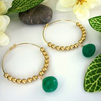Green onyx gold hoop earrings