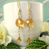 Gold citrine coin drop earrings