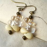 Cream Glass Earrings. Bone & Peach Glass Teardrops. Antique Brass Accents. Glass Feather Earrings. Neutral. Minimalist.