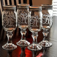Monogramed Redneck Wine Glasses Southern Iced Tea Glasses Set of 4