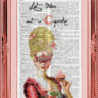 Let Them Eat A CupCake  Vintage French English Dictionary Page Art