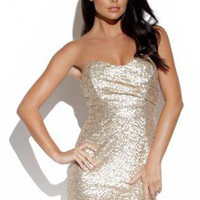 Gold Sequin Strapless Mini Bandeau Dress with Zip Back