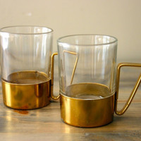 Pair of Brass Encased Espresso Cups
