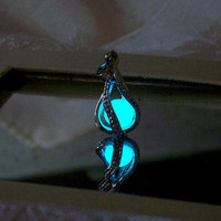 "Mermaid's Magic ""White Gold"" - Ultra Ocean Blue Glow in the Dark Pendant with Glowing Essence of the Sea - White Gold Plated"