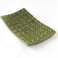 Cheese and Appetizer Tray . Textured Stoneware Ceramic  - Green