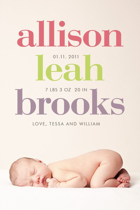custom photo birth announcement bold by denadesign on Etsy