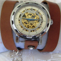 Stylish Retro Leather Band Manual-Winding Mechanical Skelton Wrist Watch. 20% Off - 69 Dollars Only FREE SHIPPING