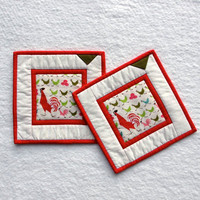 Pot Holders, Rooster Hot Pads (set of 2), Red Trivet