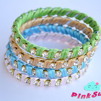 Satin and Rhinestones Bracelets / Bangles 1 pcs - Handmade by PinkSugArt