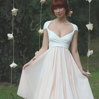 Avalon Peach Chiffon with Magnolia off White Convertible Wrap Dress