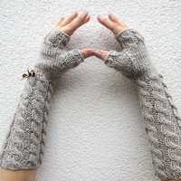 Fingerless Gloves, Long, Gray Mink Wedding Accessories, Pure Soft Wool, Brown, Cable Pattern, Cozy Warm , Beige, Christmas Gift, All day