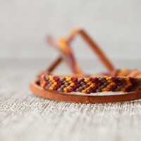Friendship Bracelet Chevron Burgundy Brown and Mustard