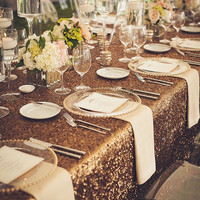 SALE of 5 Copper , Champagne Gold Sequin Table runner ,Wedding decoration, Custom made Copper Gold Sequin  table runner