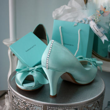 Wedding Shoes - Tiffany Blue - Crystals - Tiffany Blue Wedding - Dyeable Choose From Over 100 Colors - Wide Sizes Available - Shoes Parisxox