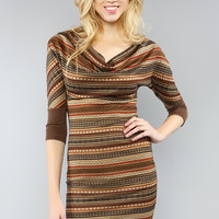 Bohemian Print Sweater Dress