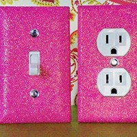 BREEZY PINK Glitter Switch Plate & Outlet Covers. Set of 2. ALL Styles Available! *****************************************************************************************************GIRLS ROOM DECOR / TEEN ROOM GIRL'S BEDROOM DÉCOR: **********************
