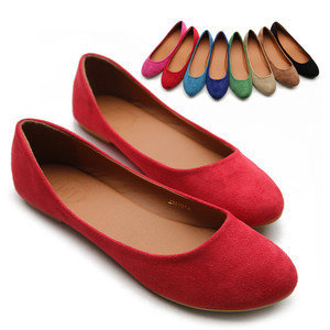ollio Womens Ballet Flats Loafers Comforts Light Faux Suede Multi Colored Shoes