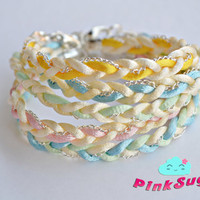 Set of 5 - Pastel Braided Satin Cord Summer Bracelets - Handmade by PinkSugArt