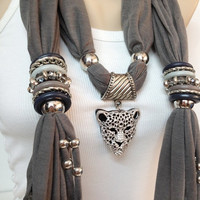 grey jewelry scarf with jewelry accessories and big leopard pendant christmas birthday everyday scarf accessory