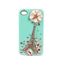 Handmade hard case for iPhone 4 & 4S: Bling Eiffel tower with crystals (custom are welcome)