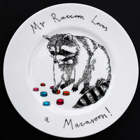 Hand Painted Side Plate  Mr Raccoon loves a Macaroon by jimbobart