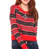 Long Sleeve Fair Isle Sweater with Drop Shoulder Design