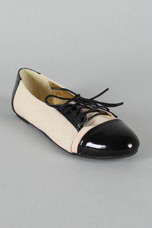 Liliana Kierra-4 Two Tone Quilted Lace Up Flats