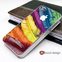 Iphone case iphone 4 case iphone 4s case iphone 4 cover Iphone light silvery colorized feather  image unique design printing