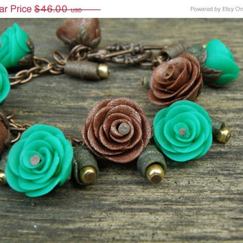 SALE FREE SHIPPING Ranunculus bracelet. Emerald green and coffee hand sculpted flowers. Fantasy Fairy bracelet, polymer clay jewelry