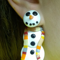 Doctor Who Snowman Earrings, 4th Doctor's Scarf, surgical steel posts, polymer clay jewelry