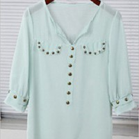 Green V-neck Studded Placket Half Sleeve Sheer Chiffon Blouse - Sheinside.com