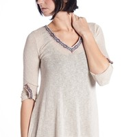 Rolled Sleeve Aztec Trim Collar Sweater - Taupe