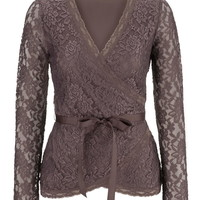 sparrow floral lace wrap top with ribbon