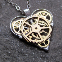 "Mini Mechanical Heart Necklace ""Keen"" Elegant Industrial Heart Pendant Steampunk Clockwork Love Gift Gershenson-Gates Mechanical Mind"