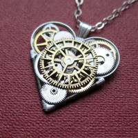 "Mini Mechanical Heart Necklace ""Stellar"" Elegant Industrial Heart Pendant Steampunk Clockwork Love Gift Gershenson-Gates Mechanical Mind"