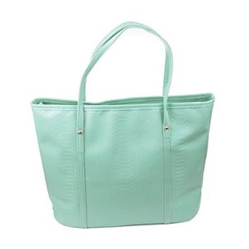 KLOUD City® Tiffany Blue PU Leather Retro Versatile Crocodile Pattern Women Handbag Shoulder Bag Tote