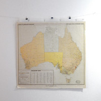 Vintage 1950s mid century original resources map of Australia