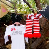"Christmas Onesuit, and Ruffle Leg Warmers Set ""Santa's Favorite"" For Baby Girl Christmas,  Christmas Photo Prop"