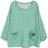 Green Batwing Long Sleeve Pockets Front Oversized Sweatshirt - Sheinside.com