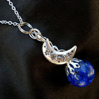 Starry Moon Blue Crackle Glass Marble Necklace