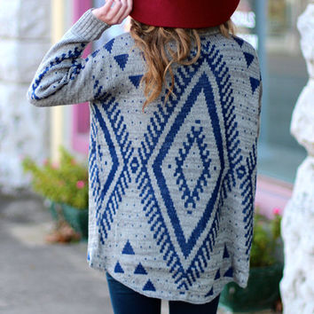 Southwestern Flair Cardigan {Grey+Blue}