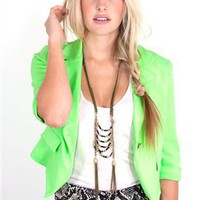 West Coast Wardrobe Neon Me Blazer in Neon Green