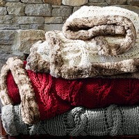 CHUNKY CABLE THROW WITH FUR TRIM BENEFITING ST. JUDE